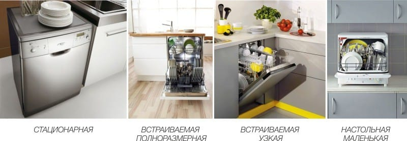 виды посудомоечных машин фото
