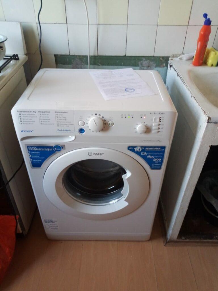 установка стиралки на кухне фото